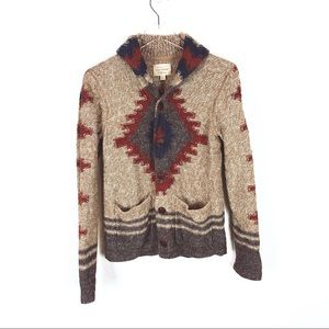 Lucky Brand   button cardigan tribal print size S